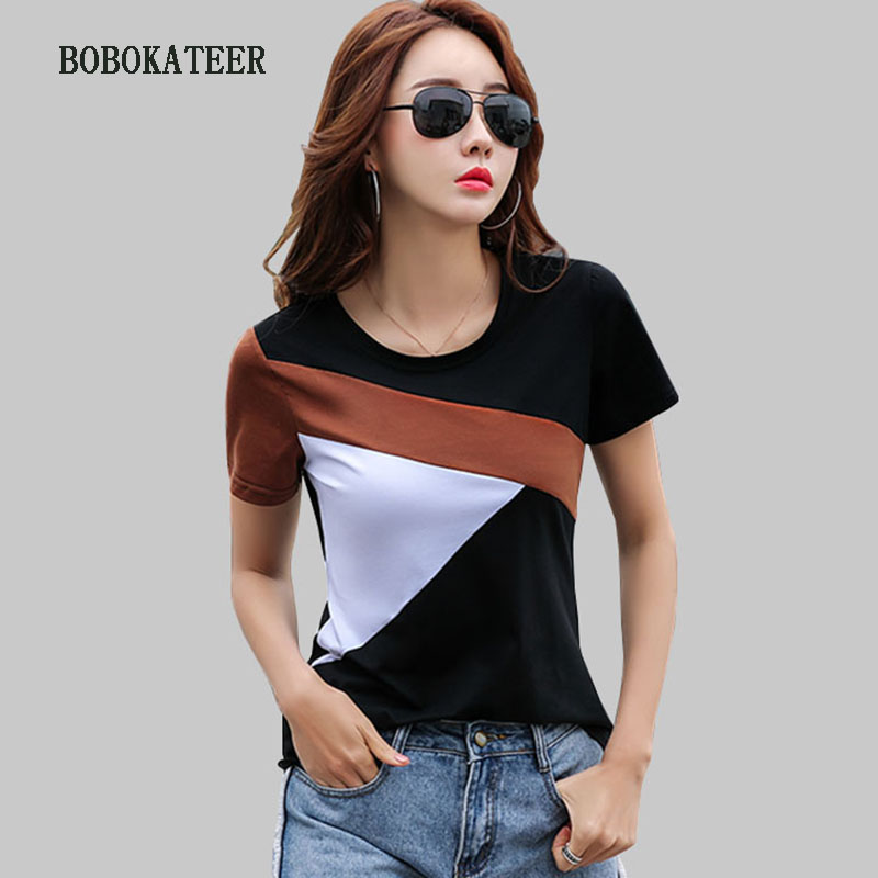 BOBOKATEER Plus Size T Shirt Women Tops Tee Shirt Femme Camisetas Mujer 2019 Cotton O-neck Tshirt Women T-shirt Summer T Shirts