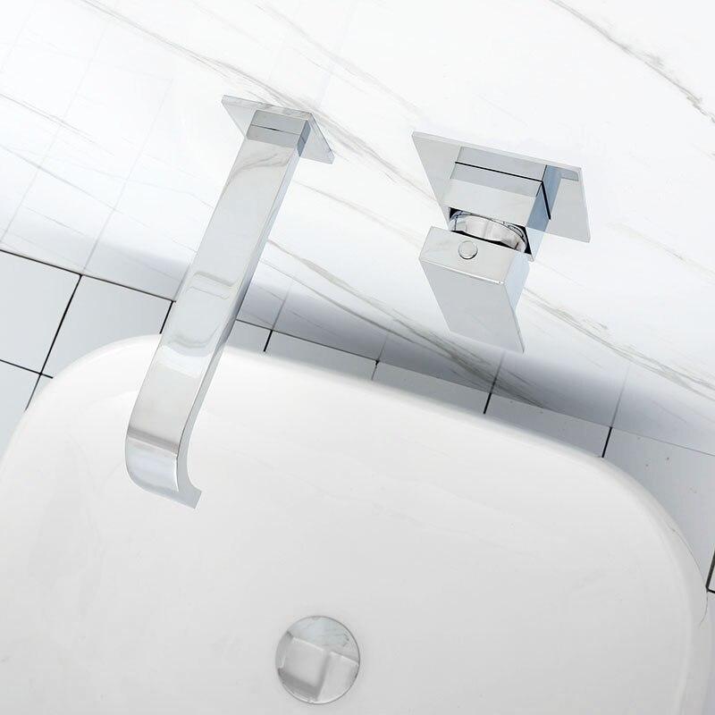 Mitigeur d'eau mural en laiton noir et Chrome mat pour salle de bain robinet mitigeur en laiton de qualité pour salle de bain robinet noir chaud et froid - 6