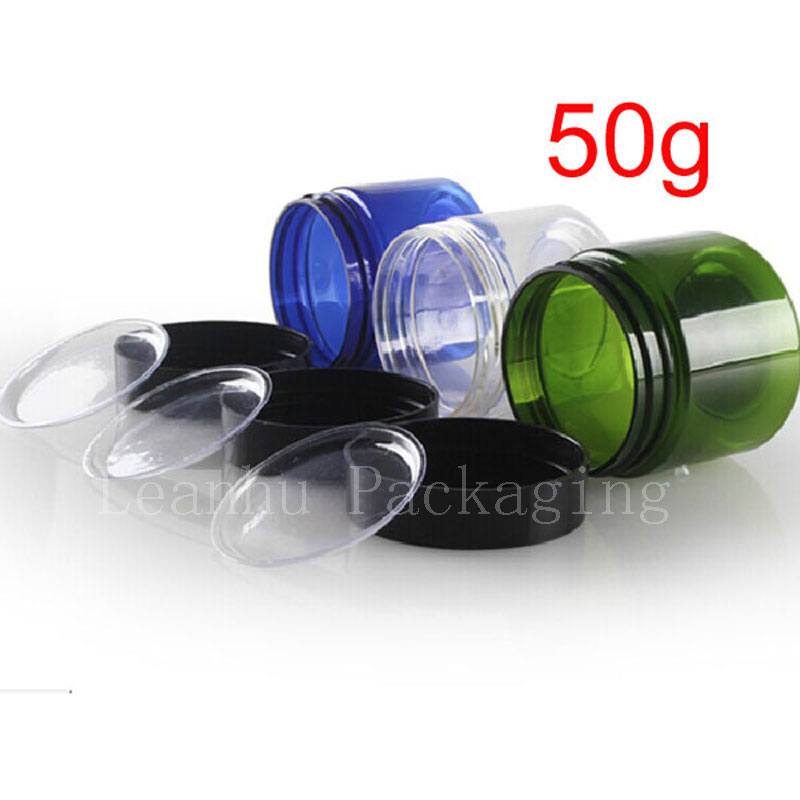 50g Colored Empt Round Cosmetic Cream Pet Jars With