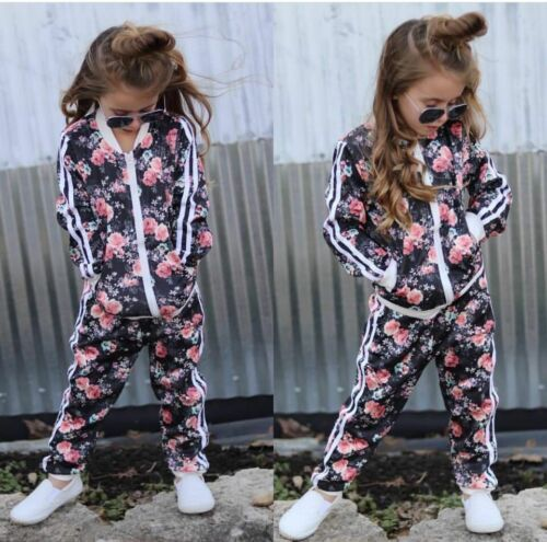 2019 Baby Kids Toddler Girls Hot Sell Tracksuit Floral Print Sweat Shirt Tops Coat + Pants 2PCS Outfits 2-7Y