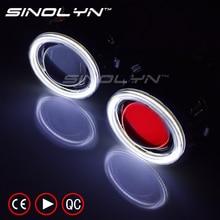 SINOLYN 2.5 inch COB LED Angel Devil Eyes DRL HID Bi-xenon Headlight Car Projector Lens Headlamp Lenses Retrofit Tuning DIY