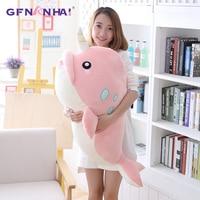 1pc 65/95cm Giant Size Narwhal Plush Pillow Cute Unicorn Whale Plush toy Stuffed Soft Dolls Sofa Cushion Home Decor Gift