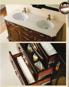 Classcical  bathroom vanity cabinets with double basin vanity