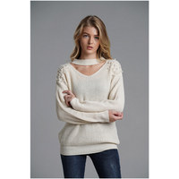 Winter New Fashion Sweater women bead plus size OL pullover Knitwear V neck Sexy Bat Sleeve Hollow up top sweaters woman