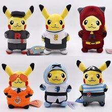 6 styles Anime Peluche Pikachu Cosplay Team Rocket Magma Aqua Galactic Flare Plasma Stuffed Plush Cartoon Dolls Hot Gift Toy