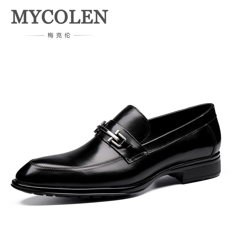 MYCOLEN Brand Handmade Mens Dress Shoes Genuine Leather Top Quality Men Wedding Shoes Zapatos De Los Hombres Zapatos De Cuero стоимость