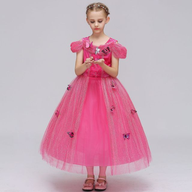 6a3cb1f40895 2019 Cinderella Princess Dress Butterfly Dress Long Skirt Girls  Short-sleeved Pettiskirt Six One Costume Children's Dress