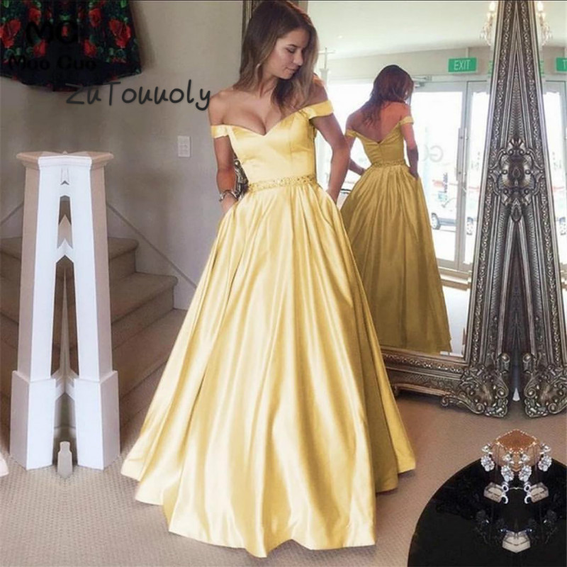 Elegant Yellow Off Shoulder A Line   Prom     Dresses   With Pocket Floor Length Satin Beaded Sash Plus Size 2019 Evening   Dress   For Girl