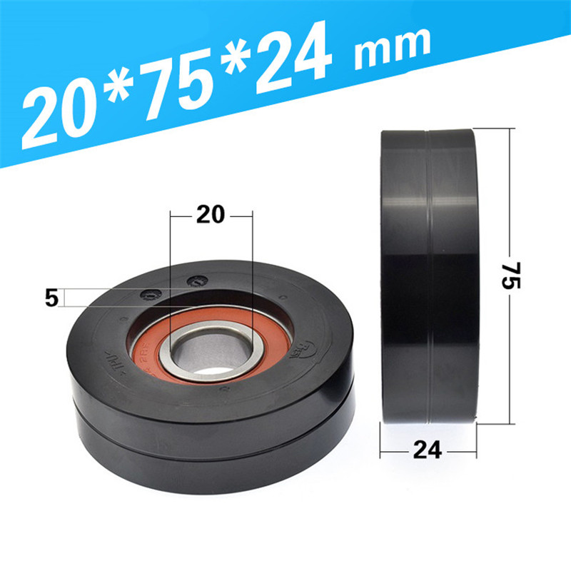 [TPU2075-24] high loading 2PCS/LOT Low noise 6204RS 6204 TPU rubber  Assembly line guide sliding guide wheel 20*75*24mm[TPU2075-24] high loading 2PCS/LOT Low noise 6204RS 6204 TPU rubber  Assembly line guide sliding guide wheel 20*75*24mm