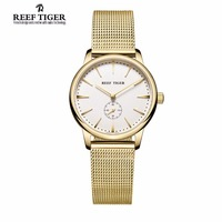 Reef Tiger RT Luxury Vintage Watches For Couple Yellow Gold Ultra Thin Watches For Men And