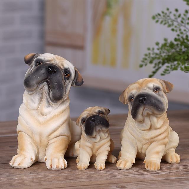 Simulation Sharpei Dog Ornaments Birthday Gift Ideas Cute Little Knick Clapboard Home Desktops Bookshelf