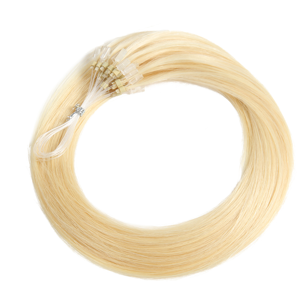 KEMY HAIR FASHION Brazilian Straight Micro Loop Ring Hair Extensions Blonde 613 0.5g/strand Micro Bead Remy Human Hair Extension