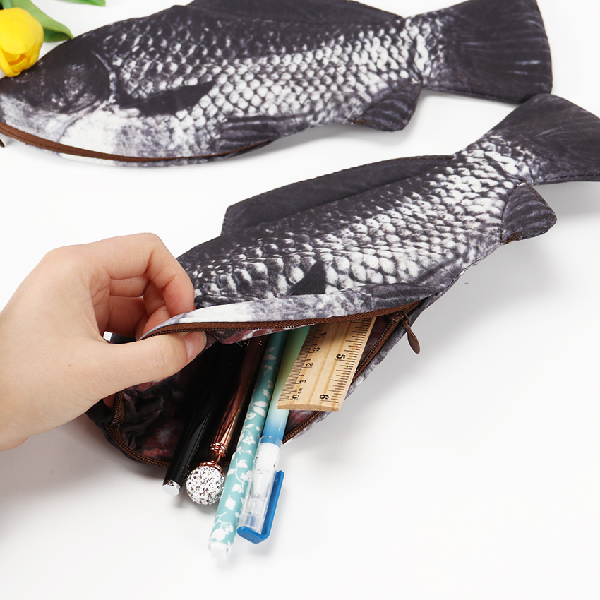 1PC Carp Fish Shaped Zipper Pencil Case Bag Holder Storage Pouch Pen Pencil Case Stationery School Supplies Funny Gift