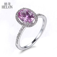 HELON Gorgeous Oval Cut 8x6mm Pink Topaz Ladies Engagement Wedding Pave Natural Diamonds Fine Jewelry Ring