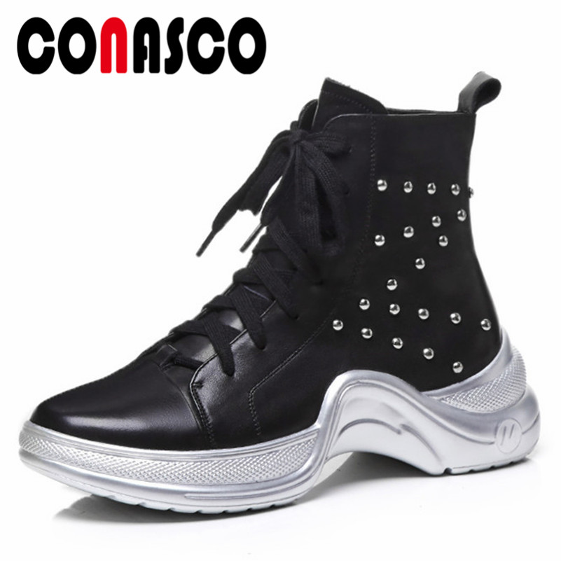 CONASCO New Punk Women Rivets Ankle Boots lace Up Autumn Winter Martin Shoes Woman Platforms Genuine Leather Motorcycle Boots