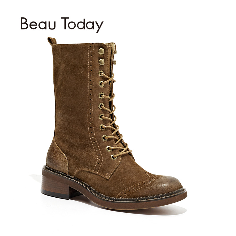 BeauToday Martin Boots Women Wingtip Top Quality Brand Boot Cow Suede Leather Handmade Autumn Winter Lady Shoes 02201 martin roth top stocks 2016