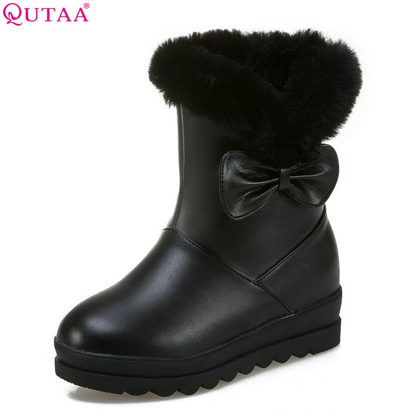 QUTAA 2019 Women Ankle Boots Platform Square High Heel Pu Leather All Match Wedges Heel Solid Women Boots Big Size 34-43 qutaa 2019 winter boots women ankle boots all match platform zipper square high heel cow leather pu women boots big size 34 39