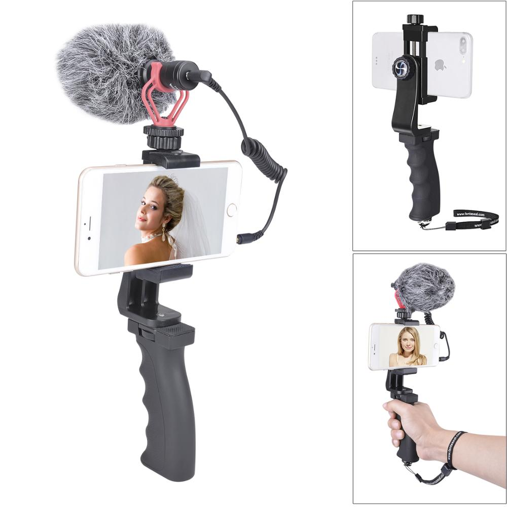 Cell Phone Hand Grip Holder Mobile Phone Stabilizer Microphone Video Filming Set for iPhone Android Xiaomi