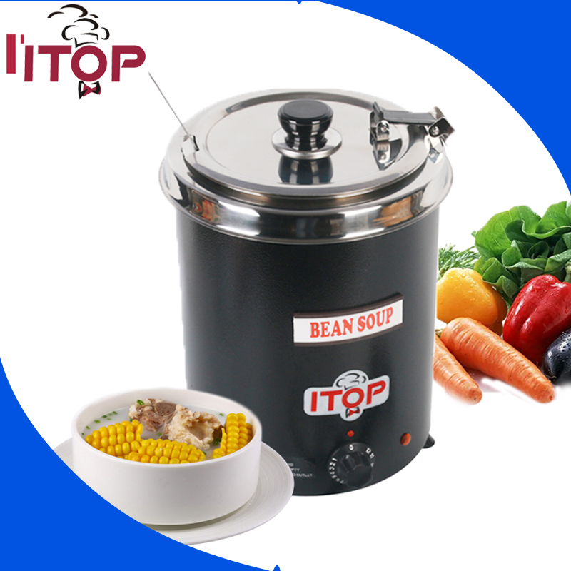 ITOP Electric Soup Kettle 110V 220V Wet Heat Food Boiler Commercial Catering Stew Sauce Food Warmer Bain Marie Pot 5.7L