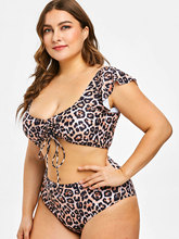 Plus Size Leopard Two Piece Bathing Suit