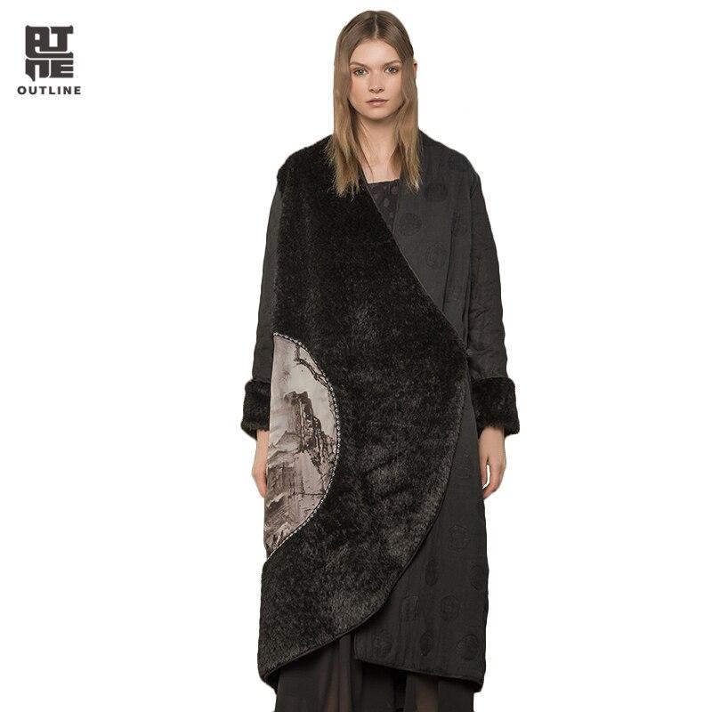 Contour Femmes Noir Hiver Plus Le Coton-Rembourré Vestes Chaud En Peluche Épais Unique Bouton Poches Pleines Manches Casual Parkas L174Y021