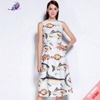 2017 New Summer Runway Dress Women S Fashion Designer Pink Fish Printed Sleeveless Crystal Button Tank
