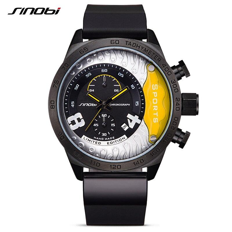 Chronograph Mens Watches Top Luxury Brand Sinobi Sports Watches Men Quartz Big Dial Clock Rubber Wrist Watch Relogio Masculino luxury mens womens rubber sports led