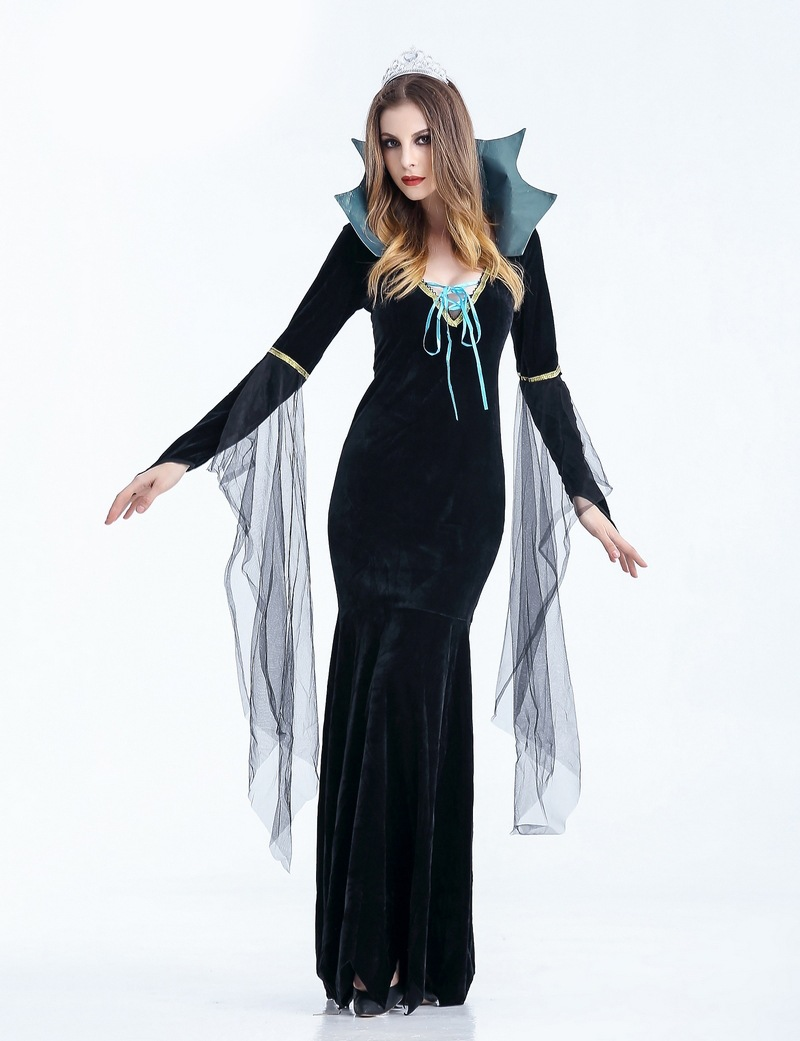 moonight halloween costume black temperament goddess queen gothic