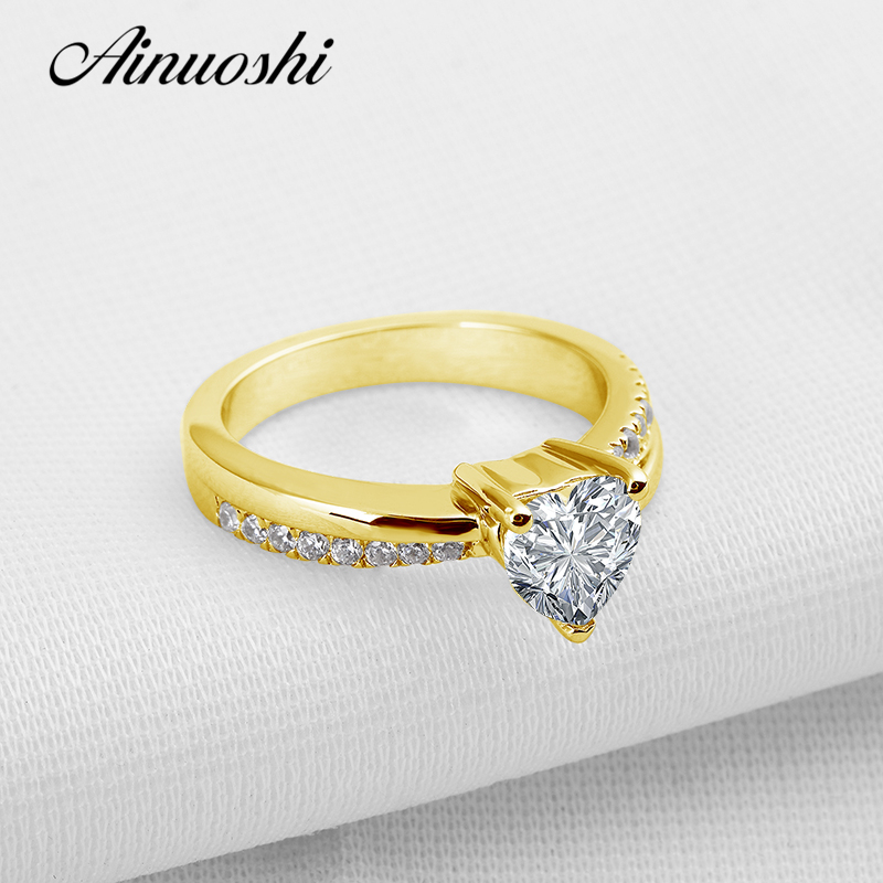 AINUOSHI Романтический Любовник Сердце обещание Золотое кольцо 10 К Pure ЖЕЛТОГО ЗОЛОТА Свадебные бриллиантовая огранка кольцо для Для женщин Обр