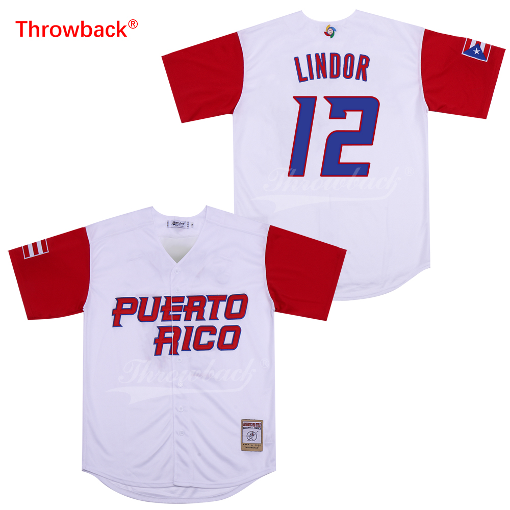 big sale 4cafb e3e93 Throwback Jersey Men's Lindor Jerseys Puerto Rico Movie Baseball Jerseys  White Red Shirt Stiched Size S-XXXL Free Shipping