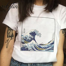 Summer female fashion Harajuku large size wave Japanese print fun short-sleeved T-shirt tops tees new wave O-Neck T-shirt XS-4XL(China)