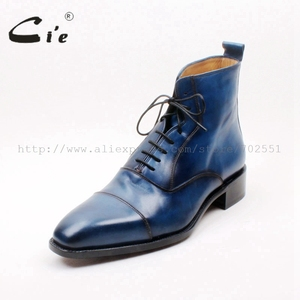Image 2 - cie Square Captoe Lace Up Handmade Hand Painted Navy 100% Genuine Calf Leather Hidden Suture Goodear Welted Men Leather BootA156