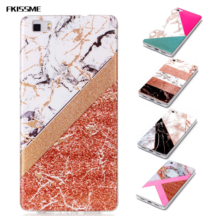 FKISSME Glitter Marble Case for Huawei P8 Lite Geometry Stone Pattern Glossy Soft TPU Back Cover for Huawei P8 Lite Case Coque