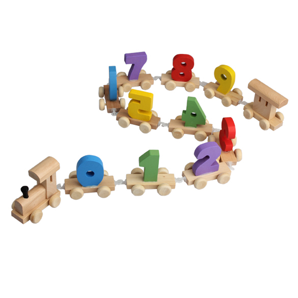 Digital Number Wooden Train Figures Railway Kids Wood Mini Toy Educational FJ88