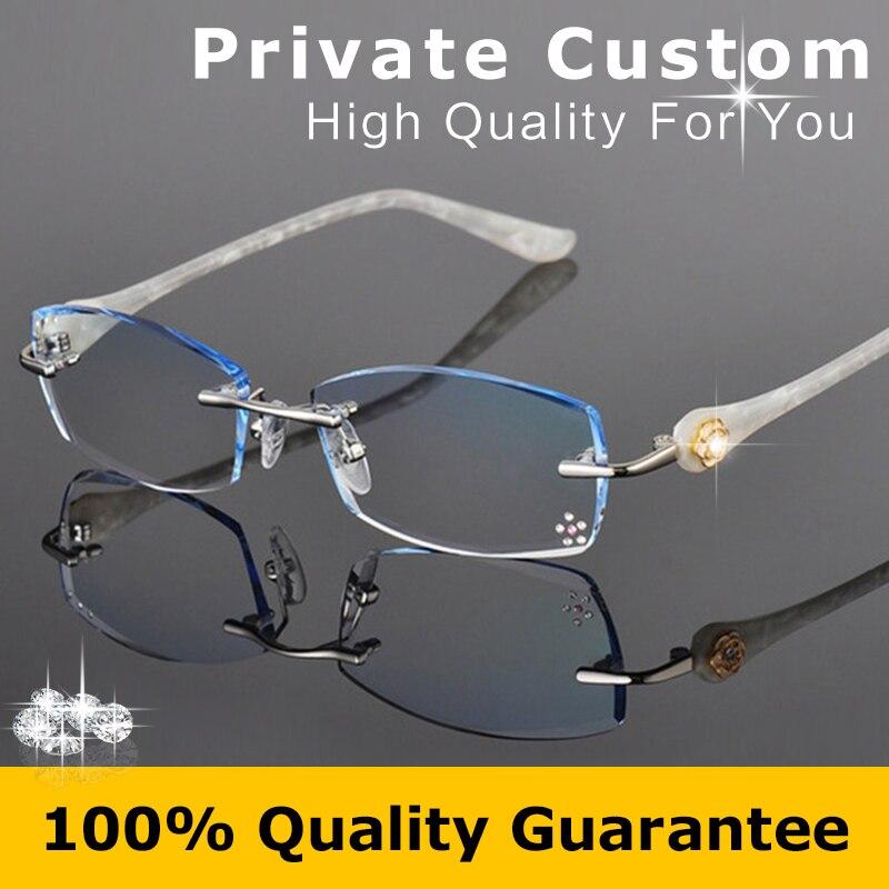 Moda Óculos de Armação Sem Aro Óculos Mulheres Prescrição Míope Óculos de  Diamante Decorações Frame Ótico Óculos de Leitura 616 b354760ff0