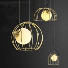 Jaxlong Creative Pendant Lights Minimalist Personality Bar Cafe Pendant Lamp Gold Birdcage Restaurant Glass Ball Handing Lamp