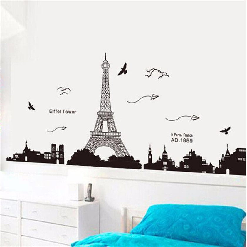 High Quality New Wall Stickers Paris Eiffel Tower Removable Decor Environmentally Mural Wall Stickers Decal 1.15 wh