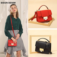 BISON DENIM Genuine Leather Women Bag New luxury handbags Women Bags designer Ladies Fashion Shoulder Bag crossbody bags N1548