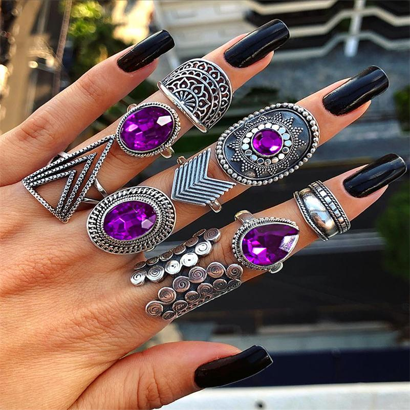 9 Pcs/ Set Punk Women Hollow Triangle Water Drop Arrow Sun Gem Crystal Silver Ring Set Personality Girl Party Ring Jewelry Gift