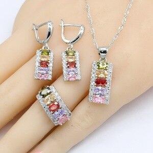 Image 2 - Conjuntos de joyería de boda de circonia cúbica Multicolor para mujer, conjuntos de joyas para mujer, pulsera, pendientes, collar, anillos colgantes, caja de regalo gratis