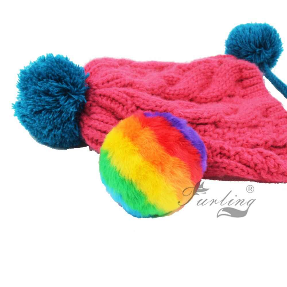 d5c12a625 Furling DIY 1 PC 9cm Rainbow Colors Faux Rabbit Fur Pom Poms Ball for  Keychain Accessories Beanies Hat Accessories
