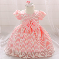Birthday baby dress wedding girl baptism dress polyester o neck short sleeve Striped wave with Headband cute toddler girl dress