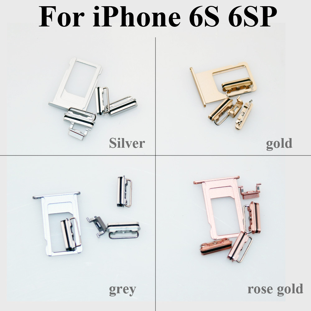ChengHaoRan High Quality For IPhone 6 6S Plus 6 6S Sim Card Tray Holder & Power Volume Mute Buttons Keys Side Buttons Full Sets