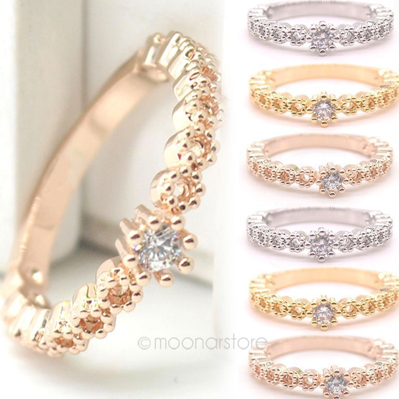 Fresh Style Fine Jewelry OL Lady Rose Gold Rings Crystal Crown
