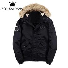Zoe Saldana Men's Coat New Winter Fashion Coats Vintage Warm Thicken Parkas Warm Slim Fit Brand Clothing