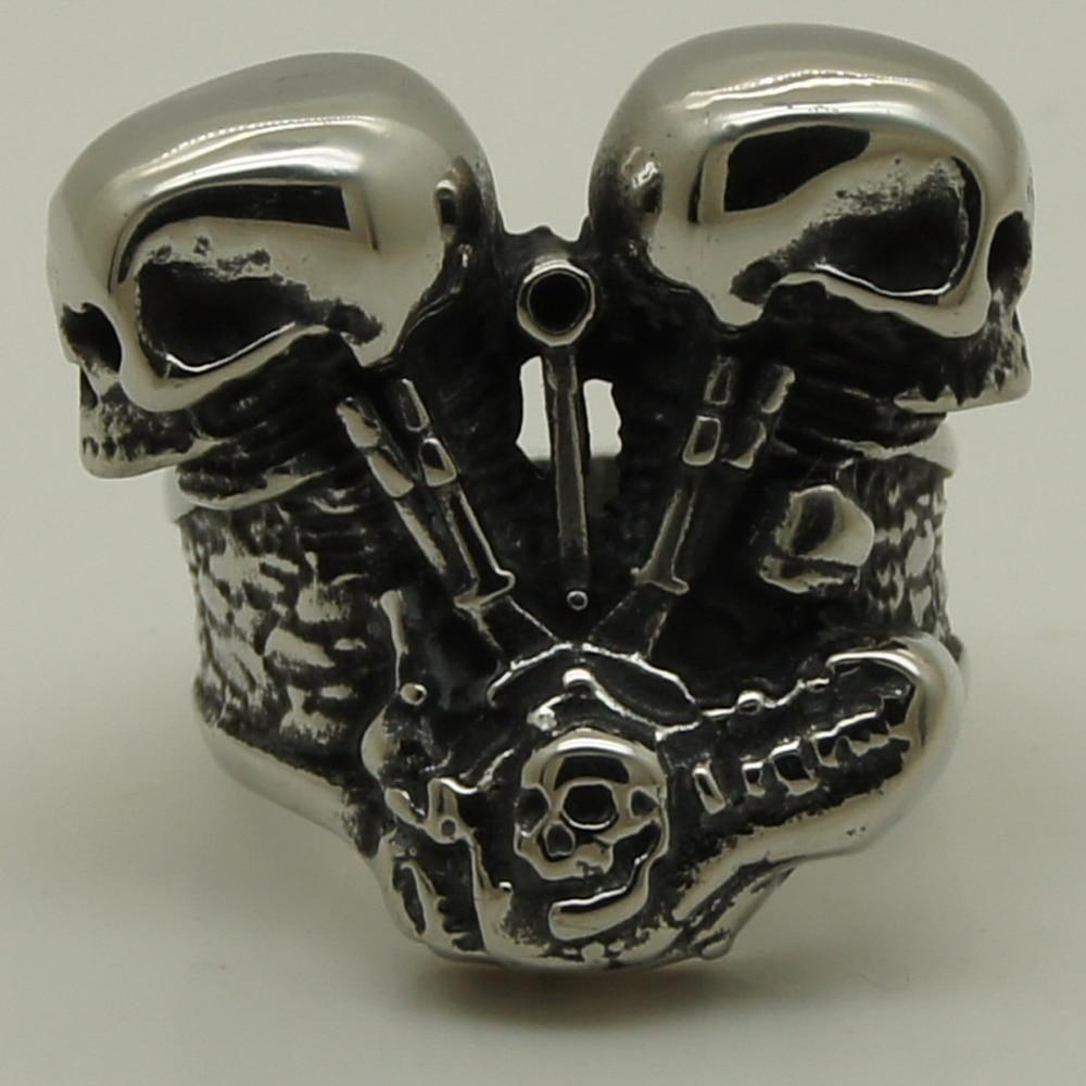 28da96c5f835 Fresco hombres niño motocicleta motor par cráneo 316L anillo de acero  inoxidable