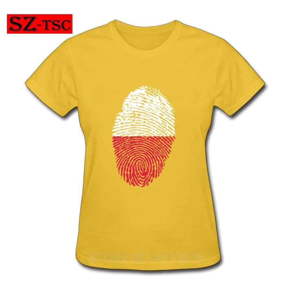 新しい高品質の女性の Tシャツポーランドフラグ指紋 O ネック tシャツファッション綿カジュアル Tシャツシャツ女性の原宿トップス