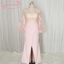 SuperKimJo Dubai Arabic Style Evening Dresses Lebanon Pink Mermaid Long Sleeve Gown with Side Slit Sexy Formal