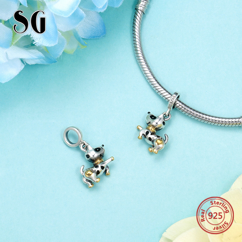 SG silver 925 black Enamel craft Dog Puppy Beads animal collection Fit Authentic pandora bracelet diy Jewelry for women Gifts in Beads from Jewelry Accessories