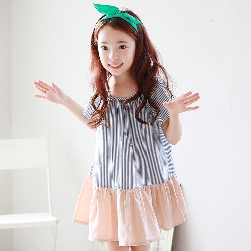 bb833ccf2c6f6 Children's Clothing New Summer Korean Style Kids Girl Dresses Child Stripe  Stitching Cotton Short Sleeve Lovely Girls Dress